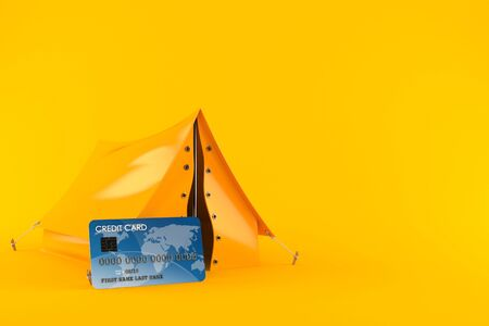 Tent with credit card isolated on orange background. 3d illustration Imagens