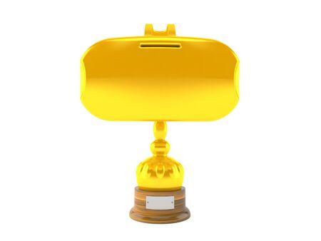 VR headset golden trophy isolated on white background. 3d illustration