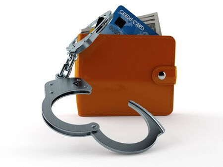 Wallet with handcuffs isolated on white background. 3d illustration Banco de Imagens