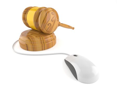 Judge hammer with computer mouse isolated on white background. 3d illustration