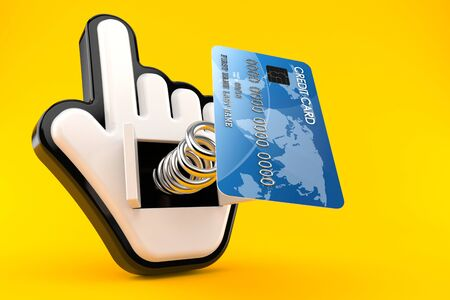 Credit card with web cursor isolated on orange background. 3d illustration 免版税图像
