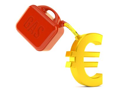 Euro currency with gasoline can isolated on white background. 3d illustration