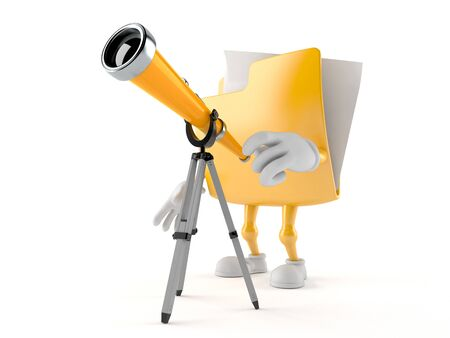 Folder character looking through a telescope. 3d illustration