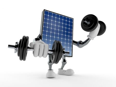 Photovoltaic panel character with dumbbells isolated on white background. 3d illustration Archivio Fotografico - 129011807
