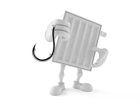 Radiator character holding fishing hook isolated on white background. 3d illustration Archivio Fotografico - 129011809