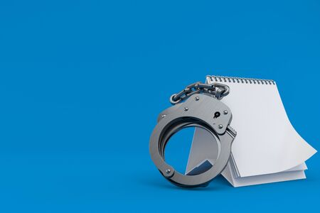 Handcuffs with blank calendar isolated on blue background. 3d illustration