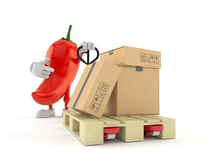 Hot chili pepper character with hand pallet truck with cardboard boxes isolated on white background. 3d illustration Фото со стока