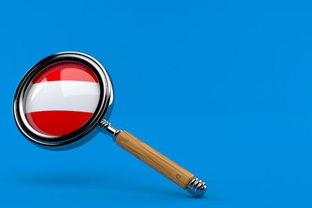 Magnifying glass with austrian flag isolated on blue background. 3d illustration