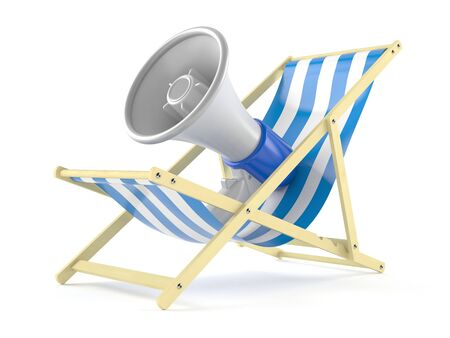 Megaphone on deck chair isolated on white background. 3d illustration