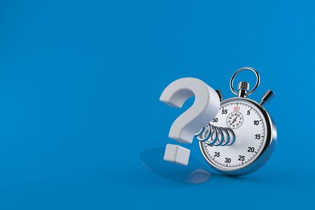 Question mark with stopwatch isolated on blue background. 3d illustration Stockfoto
