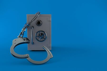 Safe with handcuffs isolated on blue background. 3d illustration Banco de Imagens