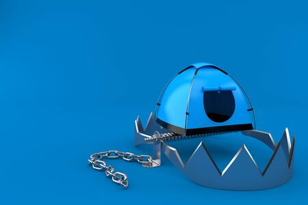Tent with bear trap isolated on blue background. 3d illustration Archivio Fotografico - 129012316