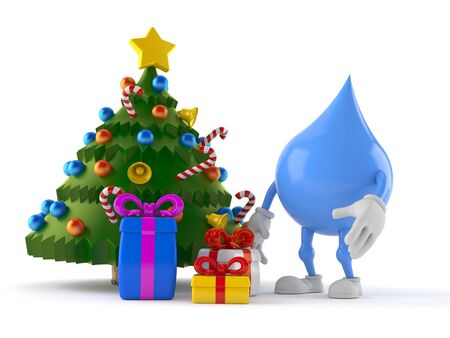 Water drop character with christmas tree and gifts isolated on white background. 3d illustration