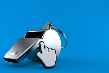 Whistle with web cursor isolated on blue background. 3d illustration