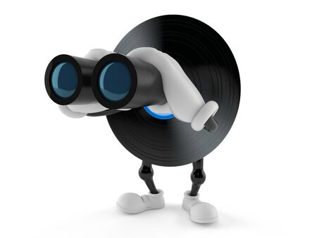 Vinyl character looking through binoculars isolated on white background. 3d illustration