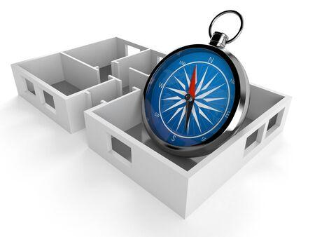 Compass inside house plan isolated on white background. 3d illustration Standard-Bild - 128812182