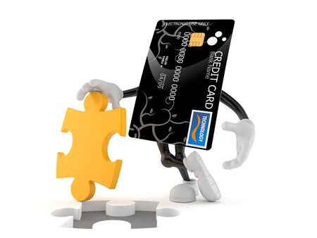 Credit card character with jigsaw puzzle isolated on white background. 3d illustration