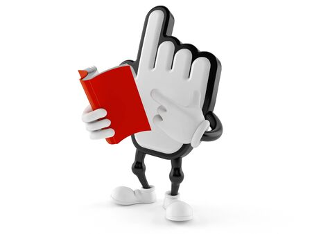 Cursor character reading a book isolated on white background. 3d illustration Stockfoto