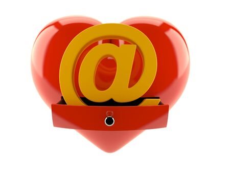E-mail symbol inside heart isolated on white background. 3d illustration