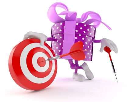 Gift character with bull's eye isolated on white background. 3d illustration Banco de Imagens - 128812233