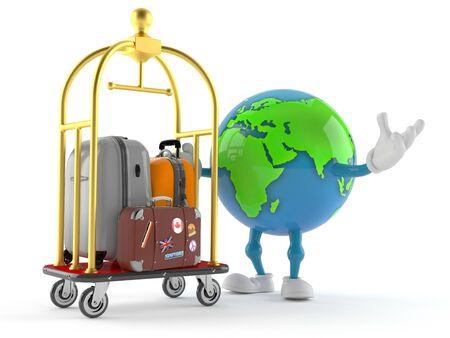 World globe character with hotel luggage cart isolated on white background. 3d illustration