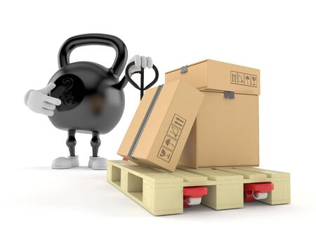 Kettlebell character with hand pallet truck with cardboard boxes isolated on white background. 3d illustration