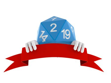 RPG dice character with blank banner isolated on white background. 3d illustration