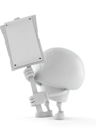 Champignon character holding protest sign isolated on white background. 3d illustration