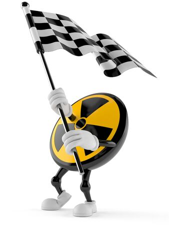 Radioactive character waving race flag isolated on white background. 3d illustration