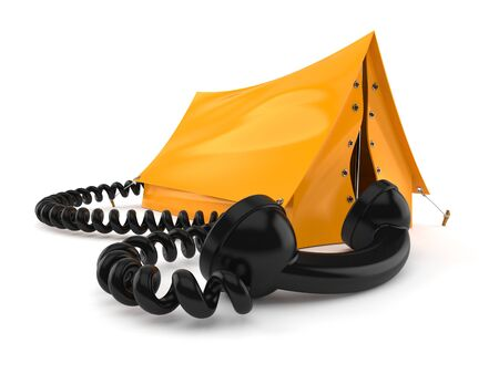 Tent with telephone handset isolated on white background. 3d illustration Imagens