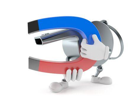 Whistle character holding horseshoe magnet isolated on white background. 3d illustration