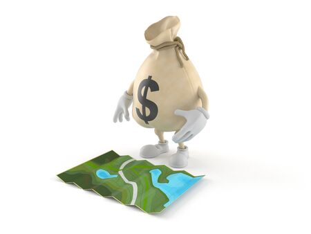 Dollar money bag  character looking at map isolated on white background. 3d illustration Standard-Bild - 128812614