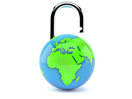 World globe with padlock isolated on white background. 3d illustration