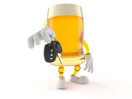 Beer character holding car key isolated on white background. 3d illustration Stok Fotoğraf - 129012432