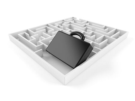 Briefcase inside maze isolated on white background. 3d illustration 版權商用圖片