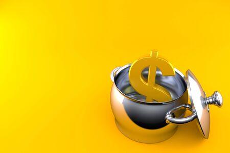 Dollar currency inside kitchen pot isolated on orange background. 3d illustration