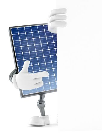 Photovoltaic panel character behind white wall isolated on white background. 3d illustration Archivio Fotografico - 129012469