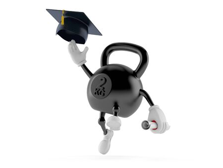 Kettlebell character throwing mortar board isolated on white background. 3d illustration Stock Photo