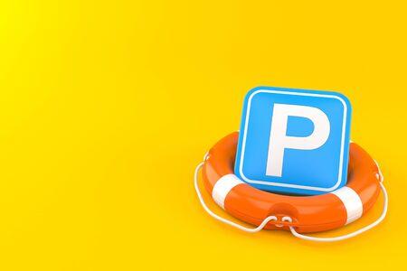 Parking symbol inside life buoy isolated on orange background. 3d illustration
