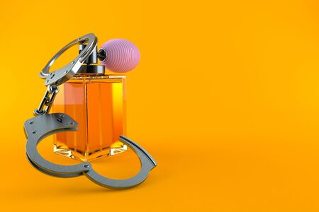 Perfume bottle with handcuffs isolated on orange background. 3d illustration