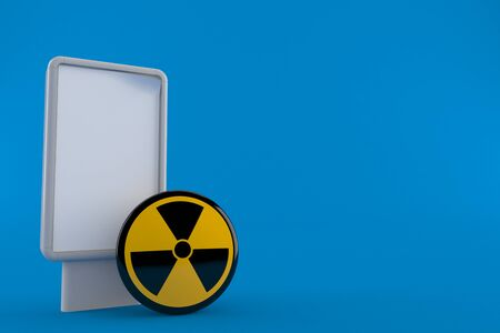 Radioactive symbol with blank billboard isolated on blue background. 3d illustration