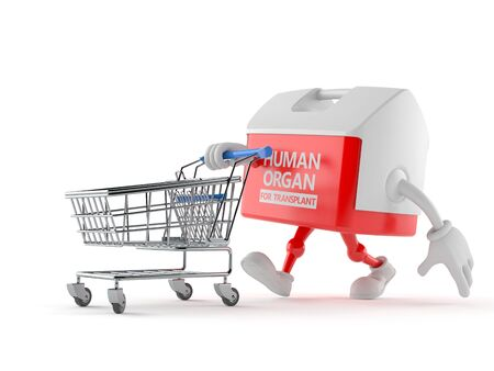 Transplant box character with shopping cart isolated on white background. 3d illustration Banco de Imagens