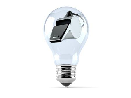 Whistle inside light bulb isolated on white background. 3d illustration