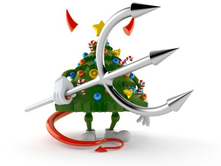 Christmas tree character with devil horns and pitchfork. 3d illustration