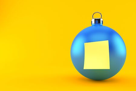 Christmas bauble with blank yellow sticker isolated on orange background. 3d illustration 스톡 콘텐츠