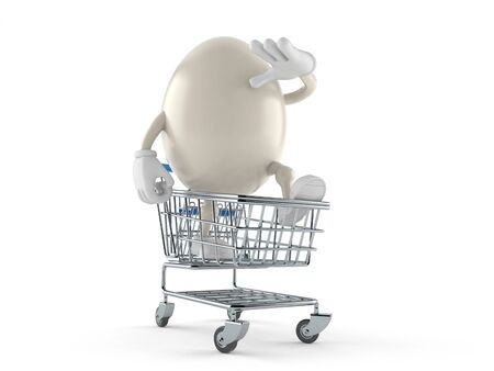 Egg character inside shopping cart isolated on white background. 3d illustration