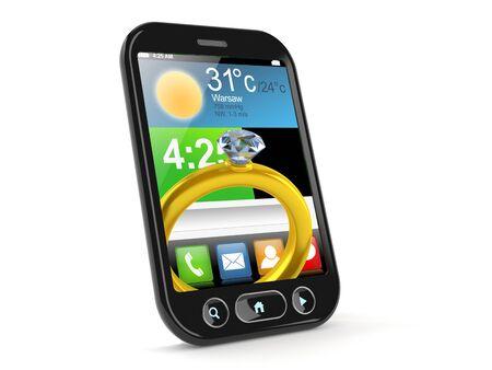 Engagement ring inside smartphone isolated on white background. 3d illustration Standard-Bild - 129013215