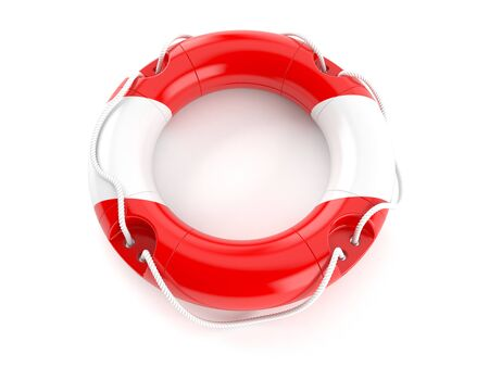 Life buoy with austrian flag isolated on white background. 3d illustration 写真素材