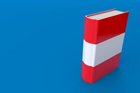 Book with austrian flag isolated on blue background. 3d illustration