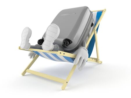 Suitcase character lying on deck chair isolated on white background. 3d illustration
